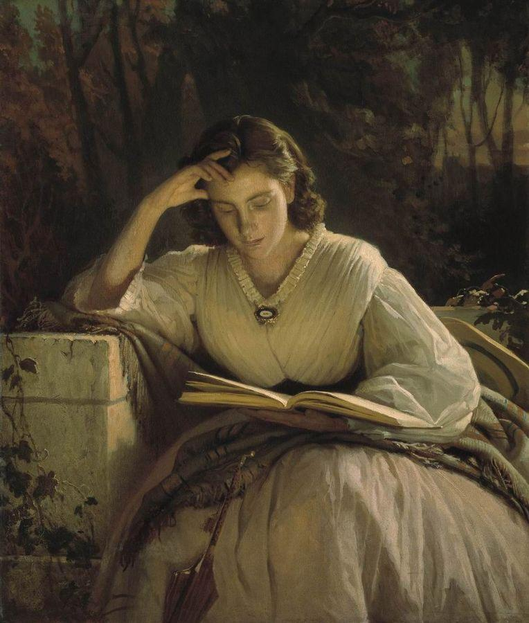A lovely 1800s woman who is rapt whilst reading a book. No doubt she is reading a sex scene. How dare she!
