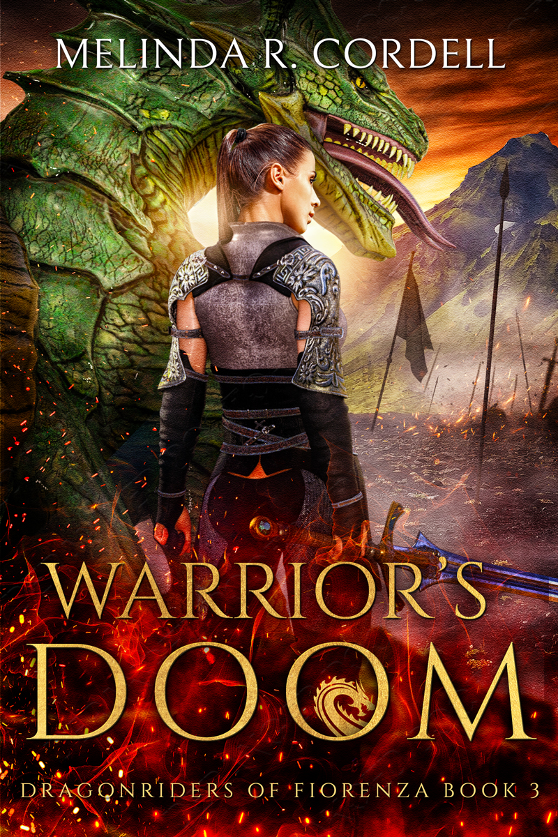 Warrior's Doom book cover with Fia and dragon