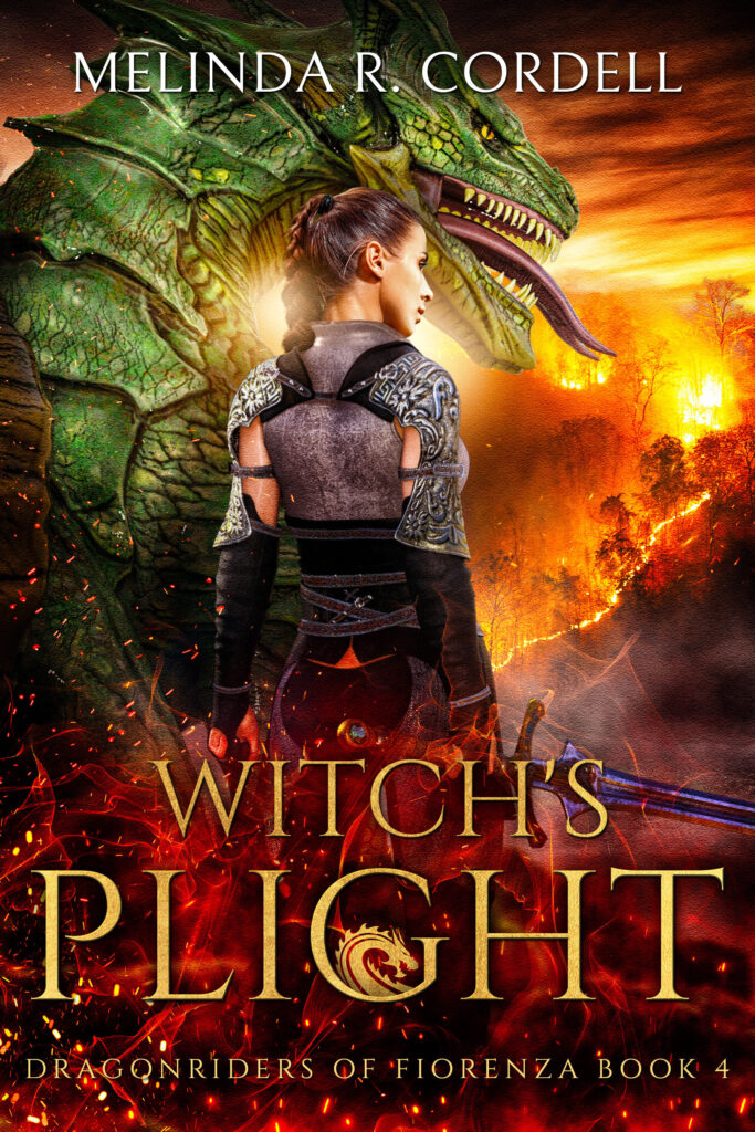 the pretty cover for Witch's Plight with Fia and her dragon rawr