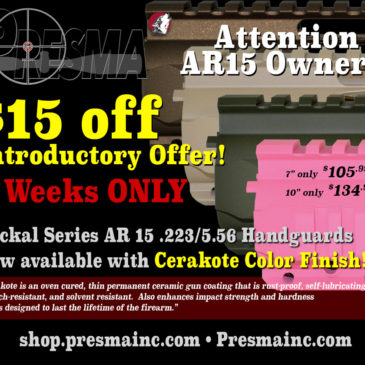 New AR15 .223/5.56 Jackal Series Free Float Handguards in Cerakote Coatings.  $15 Off Introductory  Limited Time offer!