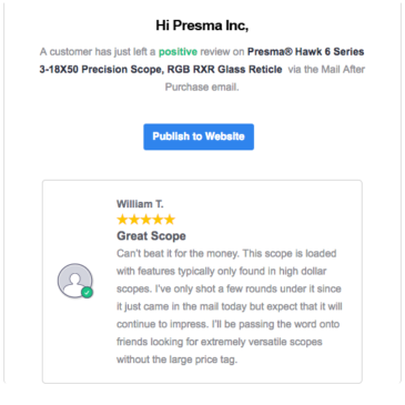 New positive review on Presma® Hawk 6 Series 3-18X50 Precision Scope, RGB RXR Glass Reticle via the Mail After Purchase email review system.