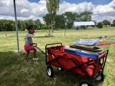 My daughter was obsessed with pulling a fold-up utility cart that resembled a Radio Flyer wagon.