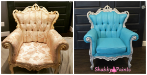 Before After Chalk Painted Fabric Upholstery