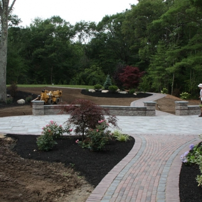 After patio, walkway and seating walls with piers 3