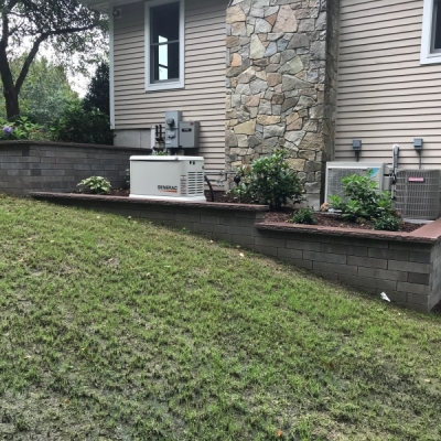 after Almond Grove and Sierra Lineo wall with Brownstone coping