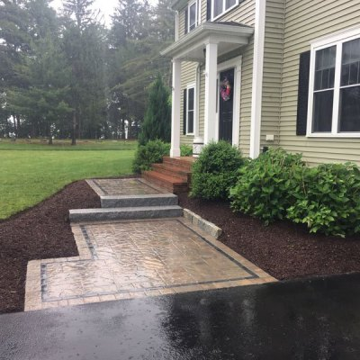 After walkway with pavers and granite step