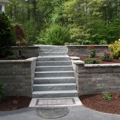 After Retaining Wall, Granite Steps