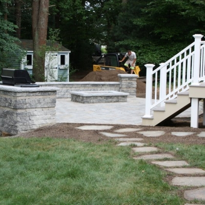 After patio, seating wall, firepit and grill enclosure 2