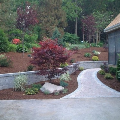 After walkway, retaining wall and planting 1