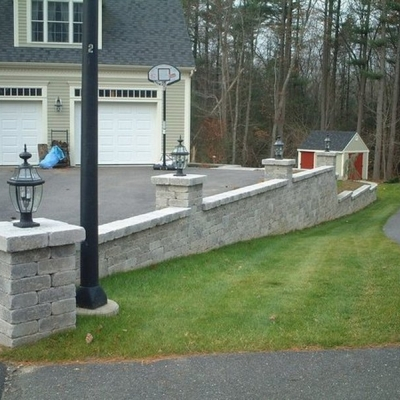 After retaining wall with piers 1