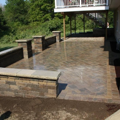 After patio and seating walls with piers 10