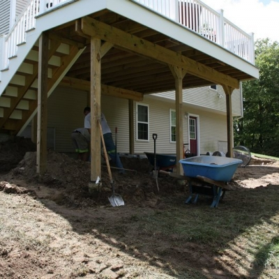 Before patio and seating walls with piers 10
