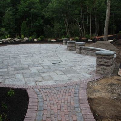 After walkway, patio and seating walls with piers 1