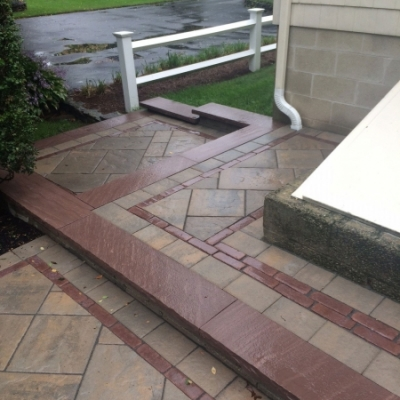 After paver landing and step