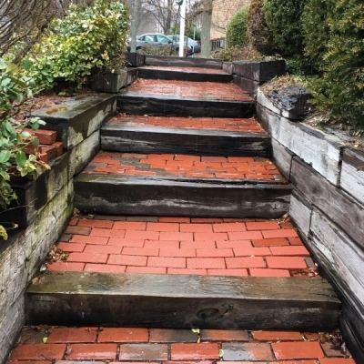 before granite steps, walls, pavers and lighting