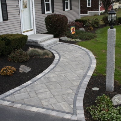 After paver walkway and granite light post