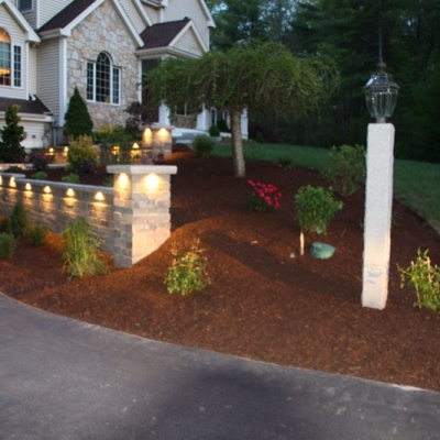 Low Voltage Lighting, Retaining Wall and Piers and Woodbury Grey Granite Steps