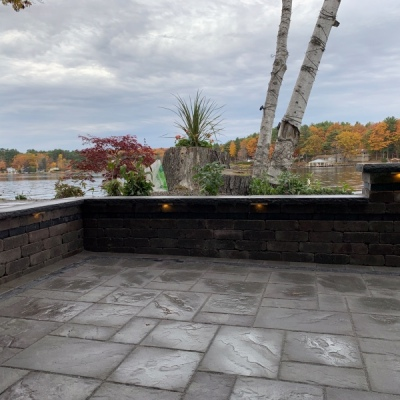 Seating wall with granite coping and lighting