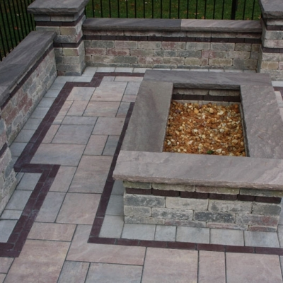 Fire Pit, Seating Wall and Piers, Patio and Granite Coping