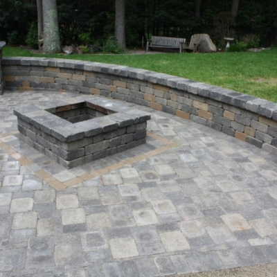 Patio, Firepit, Seating Wall