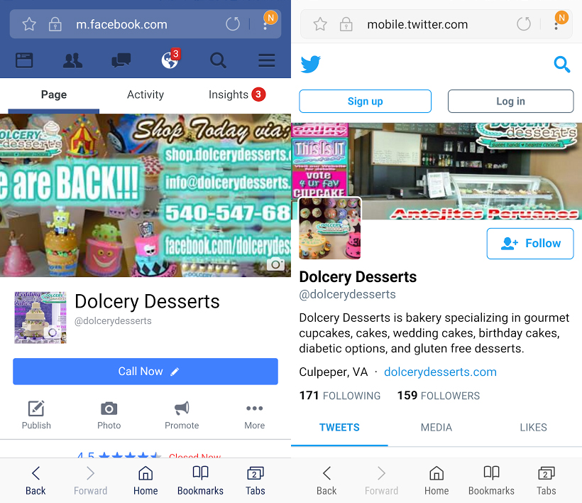 Dolcery Desserts Facebook Twitter Page social media