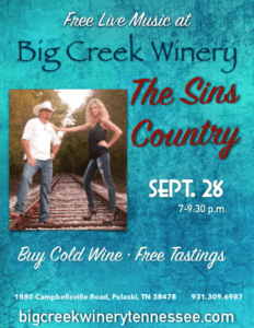 The Sins Country Sept 28 7 p.m. for A Grape Event evening of free music