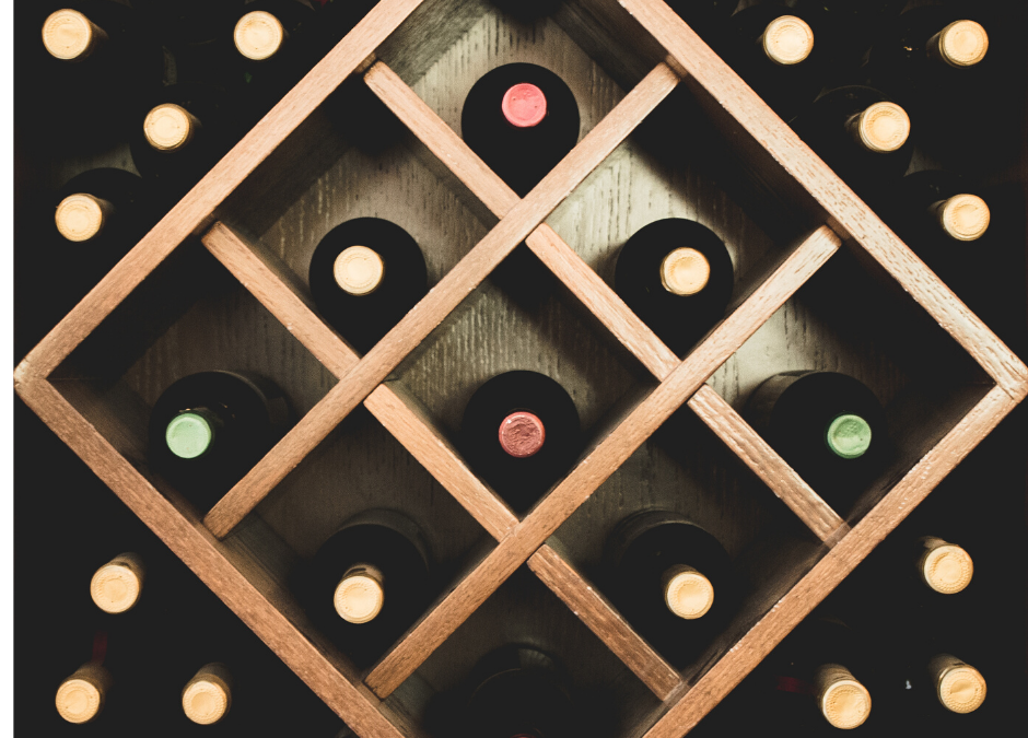 photo of wood wine rack