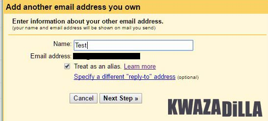 Add email address to send from gmail