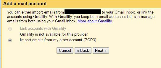 Add POP email account