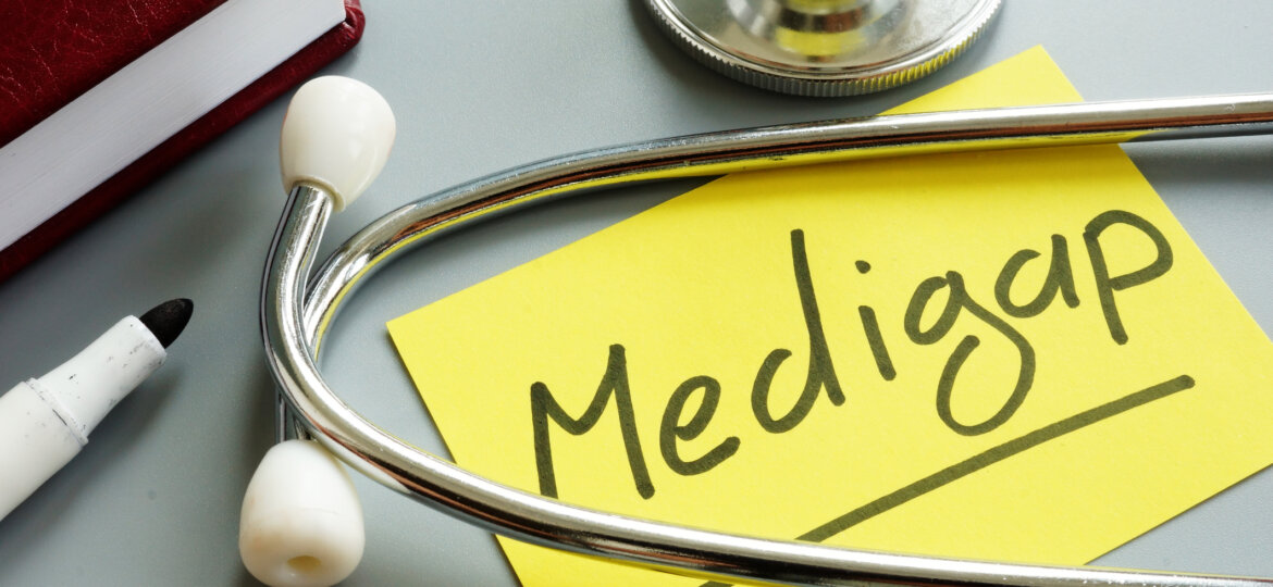 Medigap or medicare supplement insurance inscription and stethoscope.