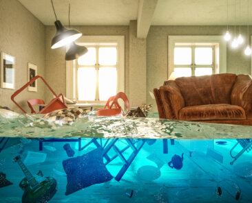 living room flooded with floating chair and no one above. Concept of domestic problems. 3d image render.