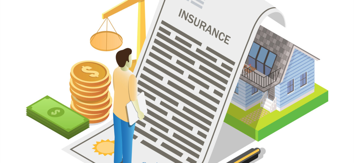 House insurance concept vector flat isometric illustration