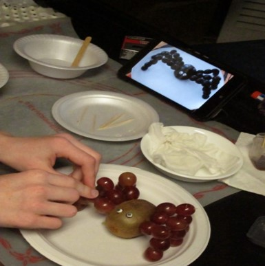 This photo shows a child using grapes and toothpicks to make a spider as shown on a  digital tablet
