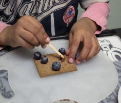 This photo shows a girl using one hand to hold a graham cracker still.  The other hand is  being used to position a blueberry on the cracker.