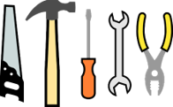 A group of clip art hand tools are shown here. Saw, hammer, screw driver wrench and pliers