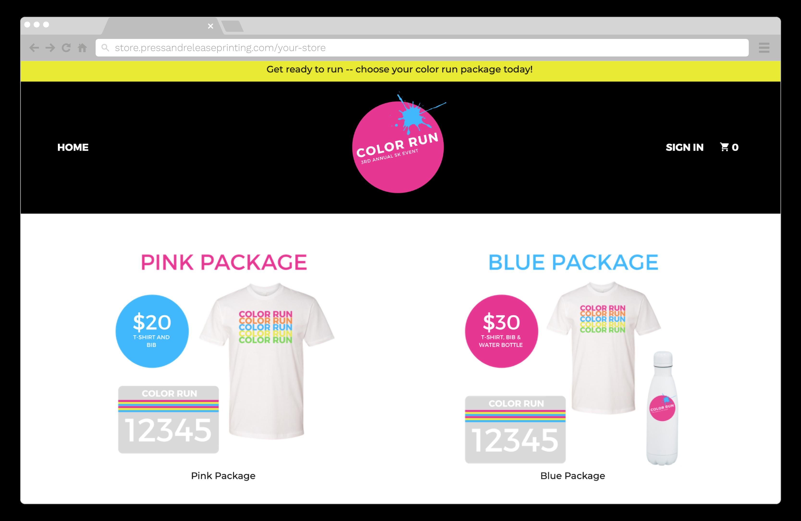 A screenshot of an online store for a 5k fun run