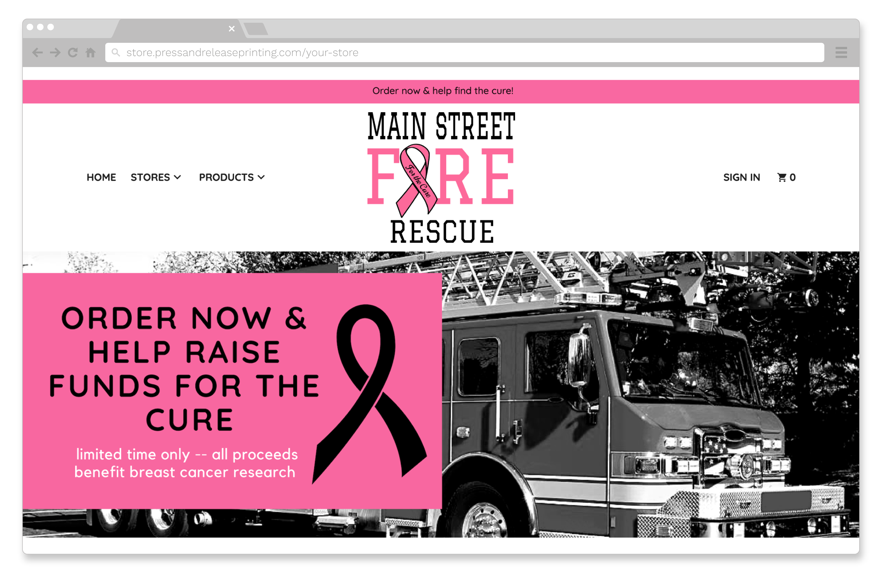 A fundraising store for breast cancer research.