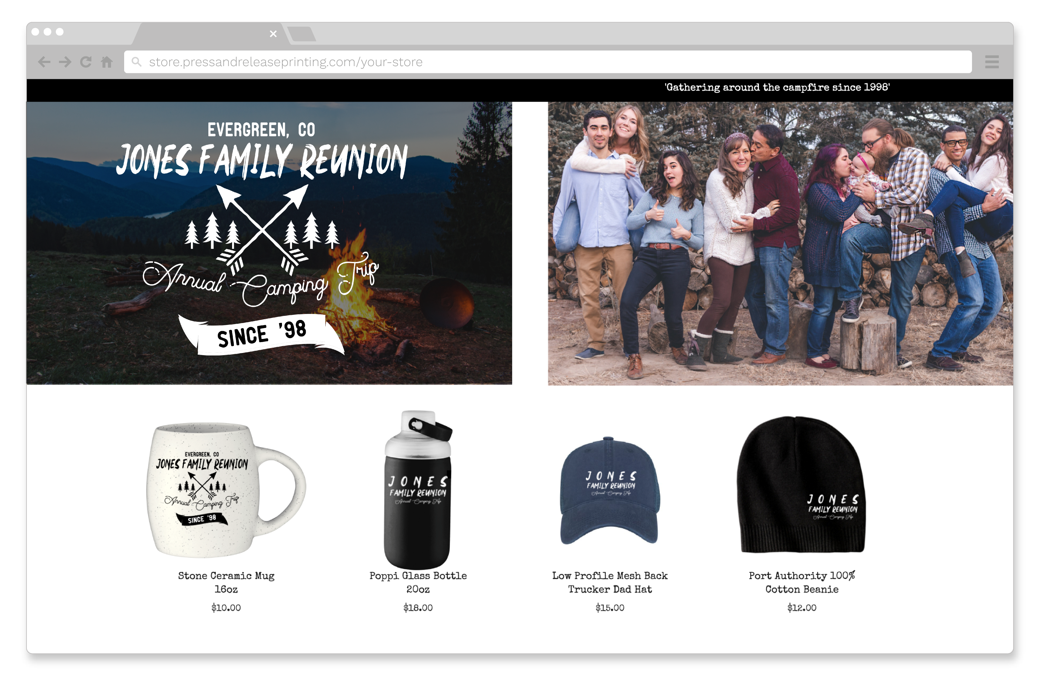 A family reunion online store.