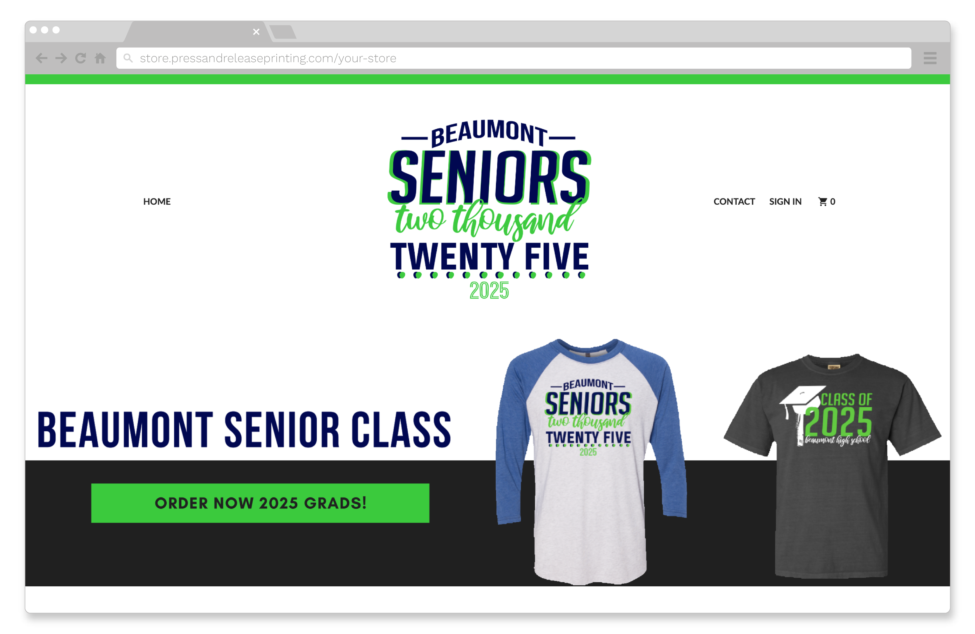 Screenshot of an online store for the senior class of 2025.