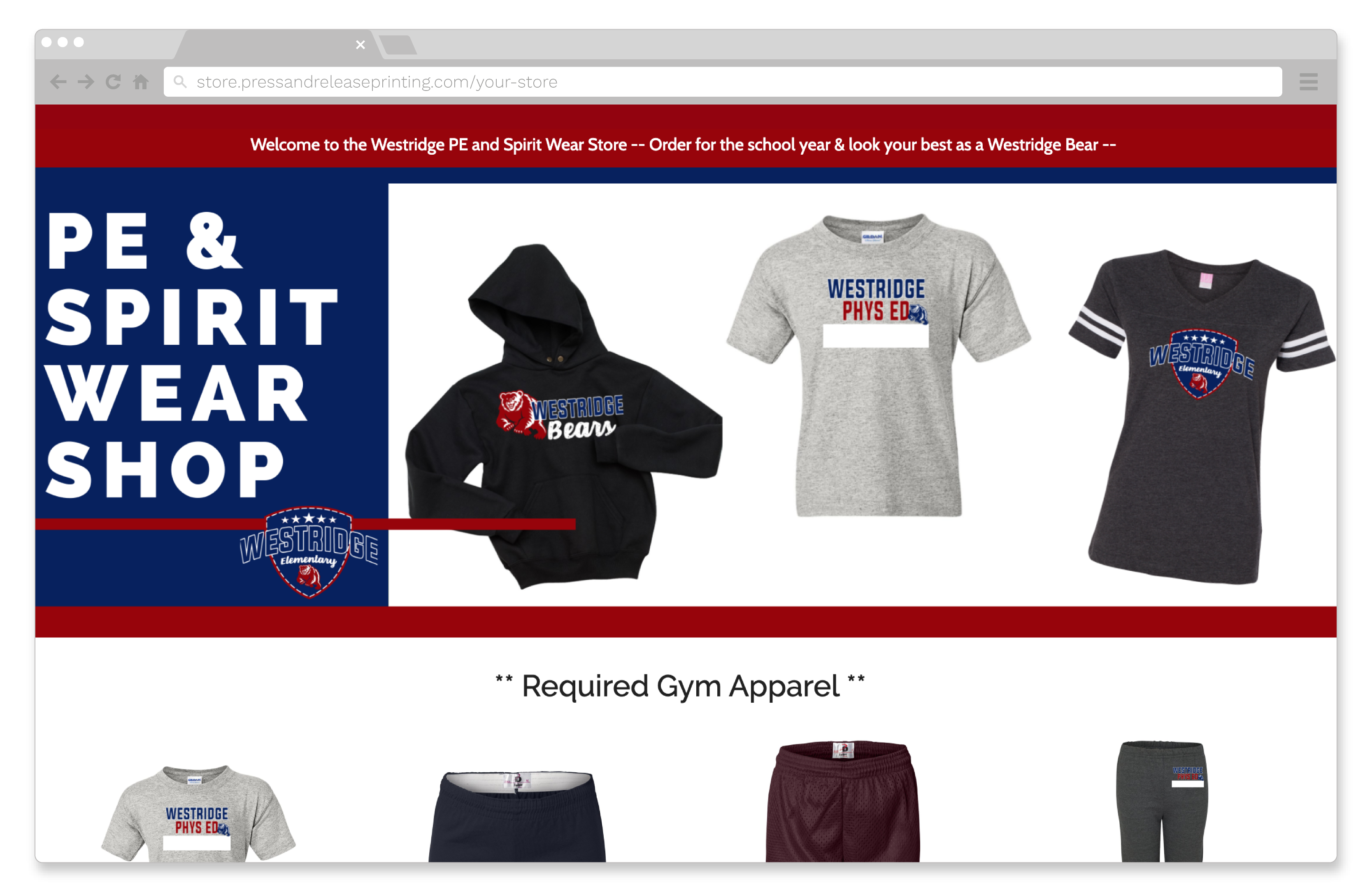 Screenshot of a school spirit wear online store