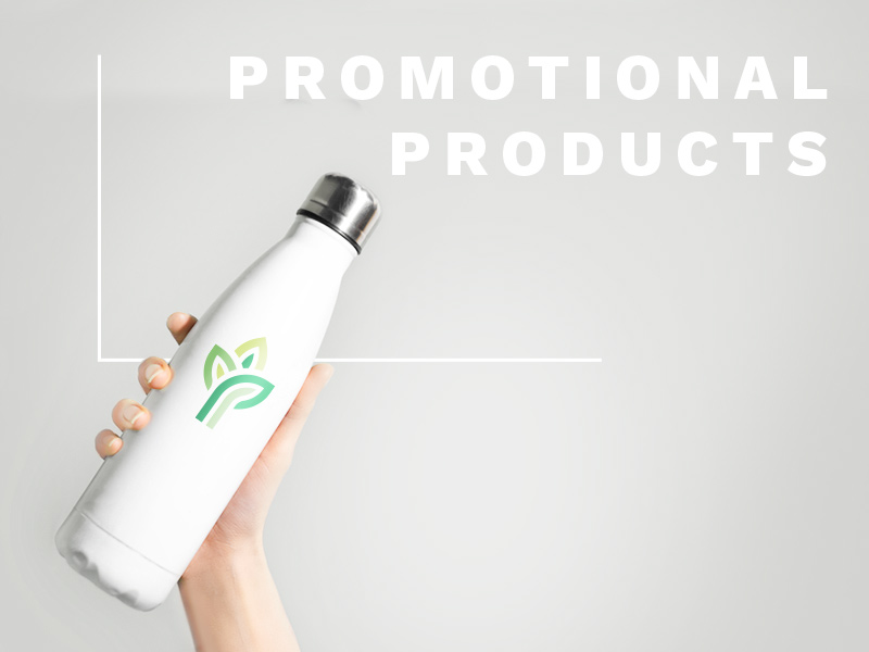 Text: Promotional Products; Image: A hand holds up a white reusable water bottle with a printed logo.
