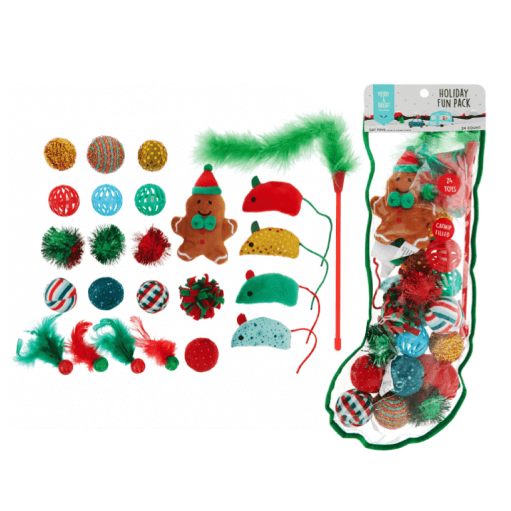 Merry & Bright Holiday Catnip Cat Toys Gift - 24 Pack