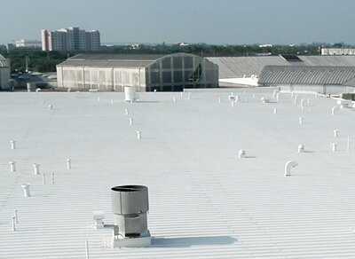 Roof waterproof coating restoration flat roof white