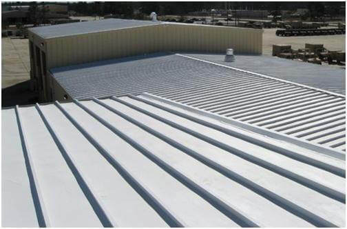Roofing System Coating on Commercial Metal Roof