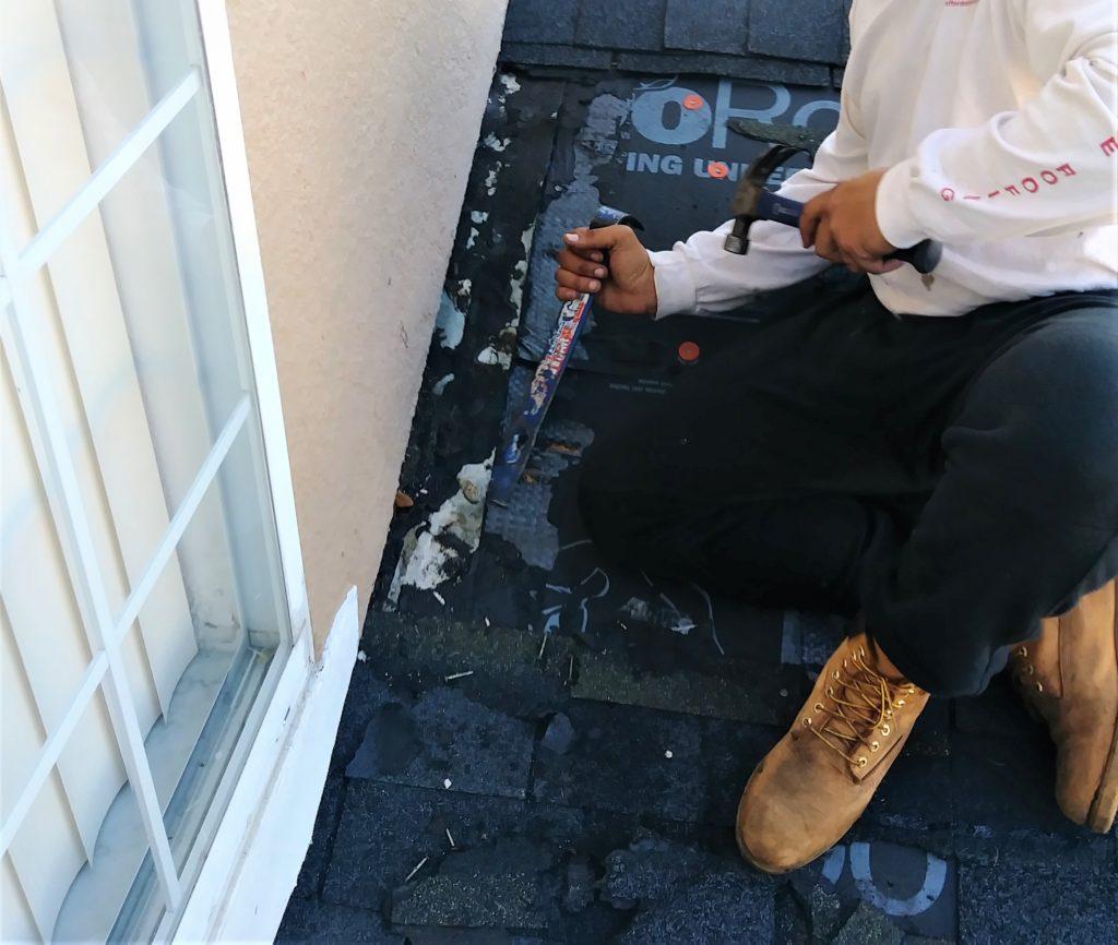 Roof repair by replacing bad leaking shingles & replacing