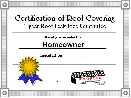 roofing certification and warranty form