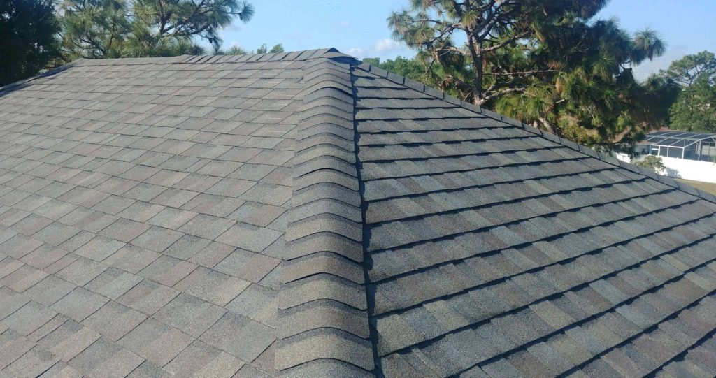 Roofing shingle cap on Ridge and Hip