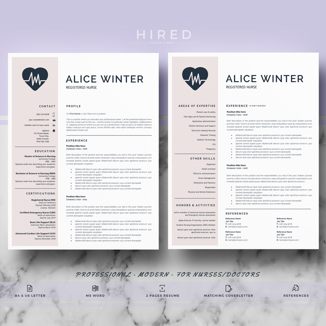 """Nurse Resume Template for MS Word: """"Alice"""""""