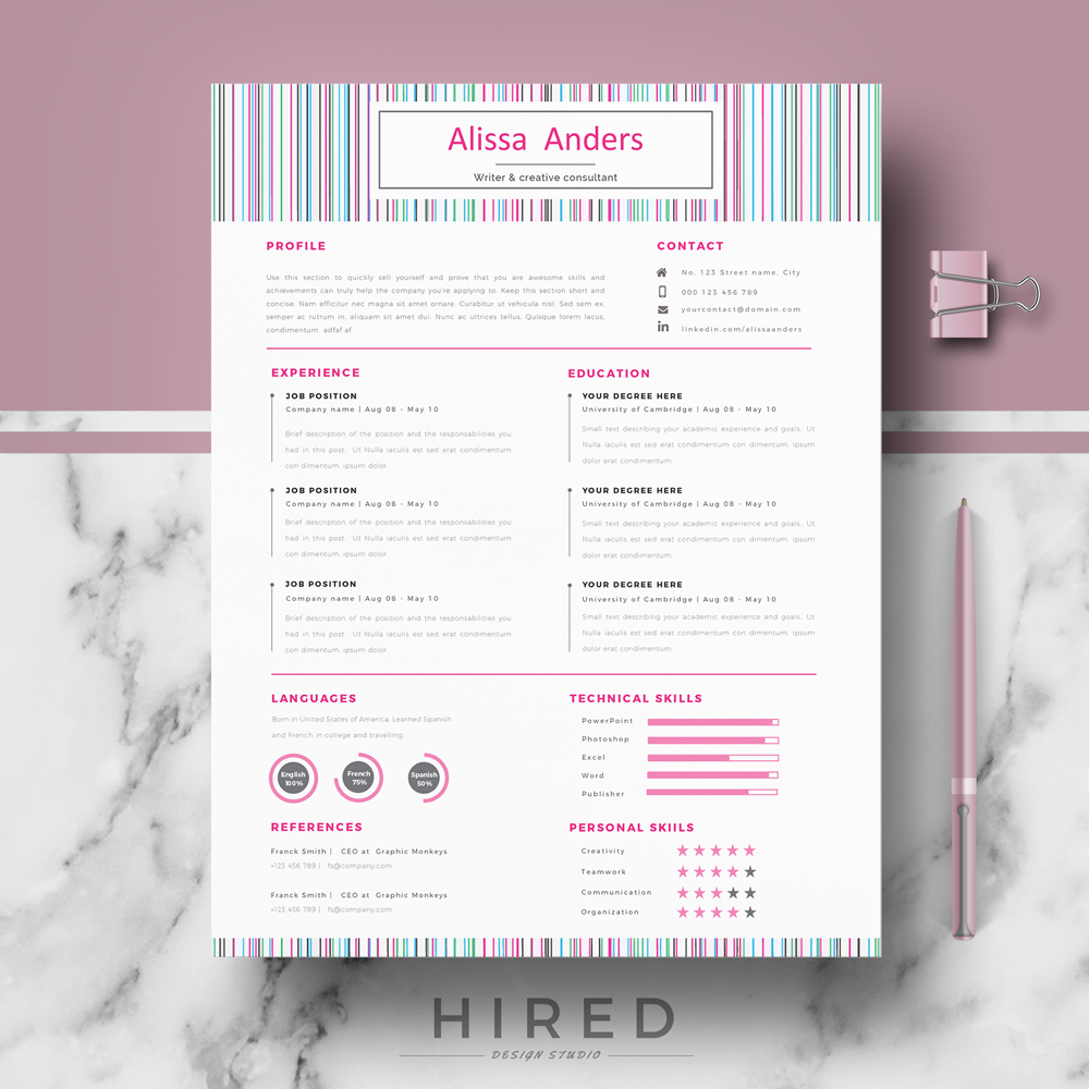 "Creative Resume Template for MS Word: ""Alissa"""