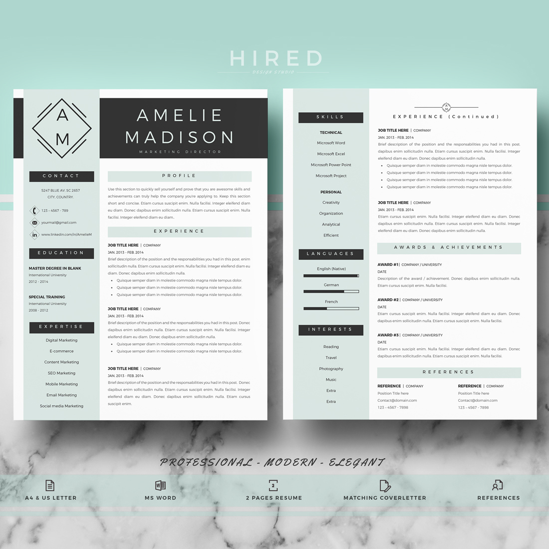 """Professional & Modern Resume Template for MS Word: """"Amelie"""""""